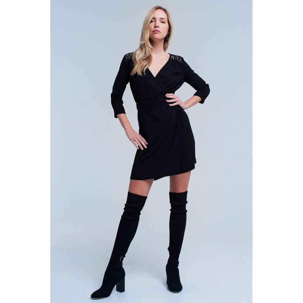 Black wrap dress with lace detail products