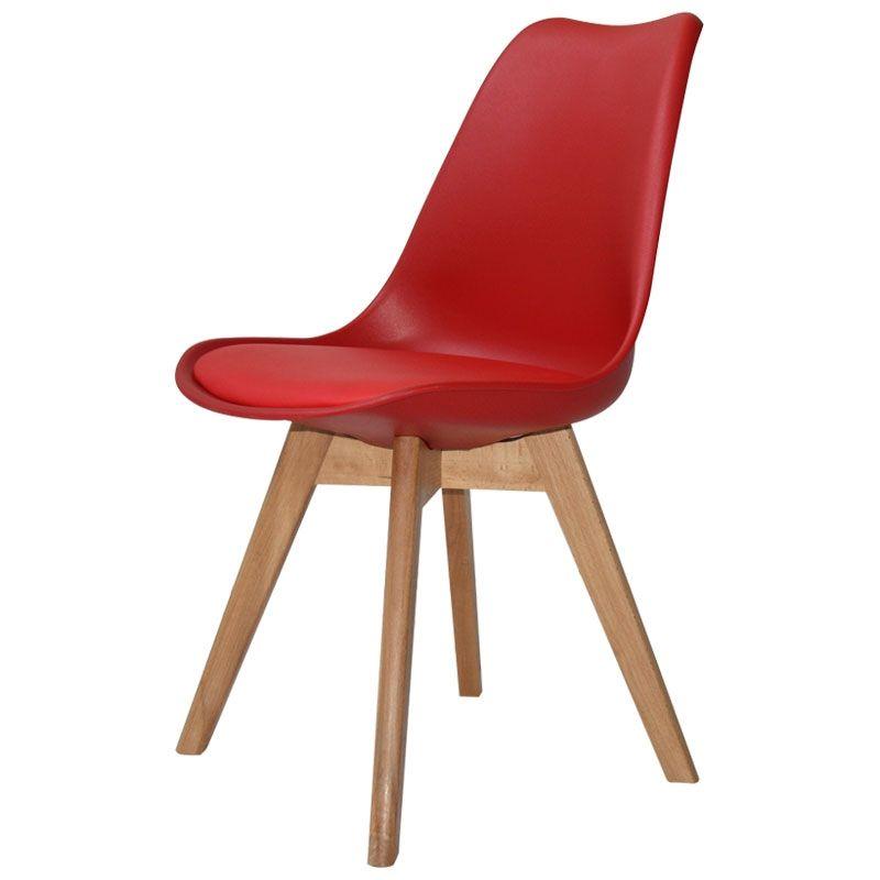 Silla New Tower Wood Roja 54 10 Sillas Para Escritorios