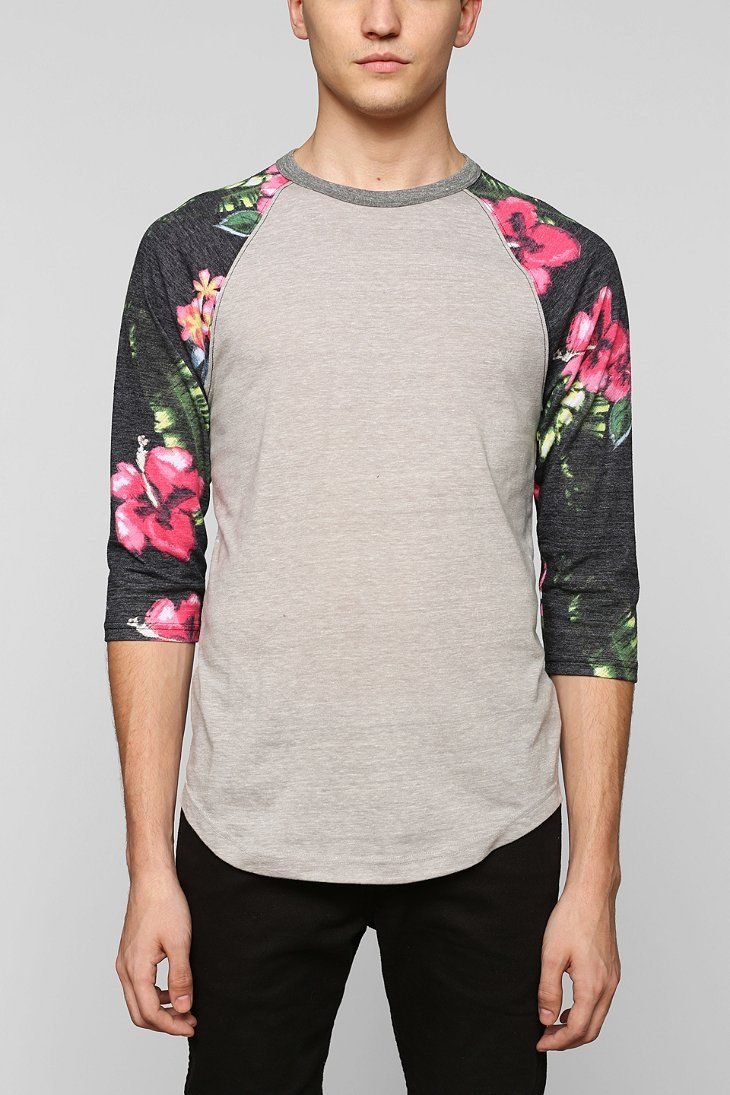 944d93c2683ac5 BDG Floral Colorblock Sleeve Raglan Tee - Urban Outfitters