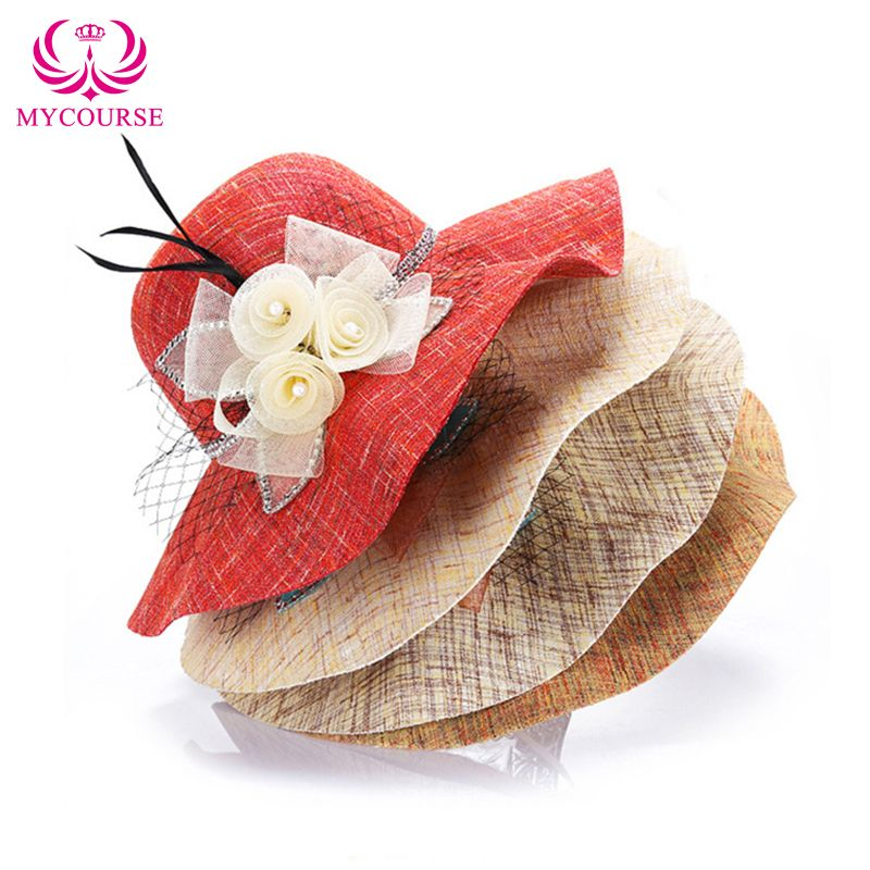 514c4fa889b Find More Sun Hats Information about MYCOURSE Women Girls Linen Floppy  Bowknot Yarn Wide Brim Plaid