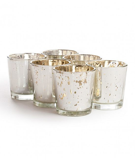 Silver Glass Votive Candle Holder - Set of Six ...