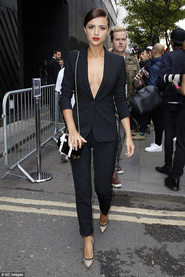 d0f6ab5b2dee3 Lucy Mecklenburgh goes braless in plunging black blazer at LC M show