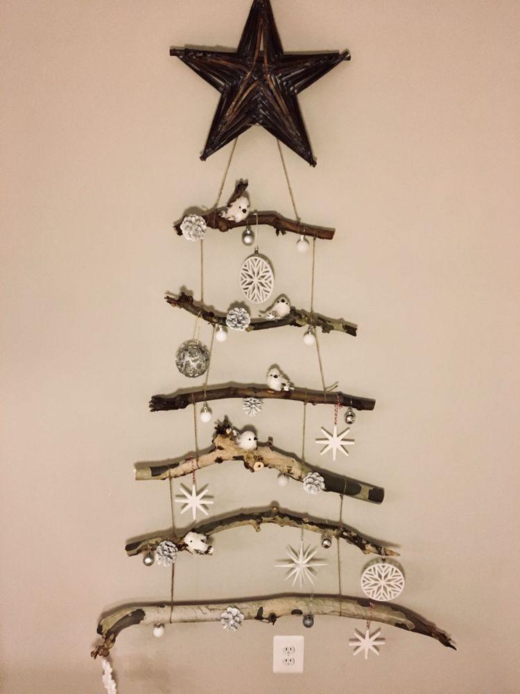 Christmas Decor Stick Christmas Tree Rustic Diy Christmas Decorations