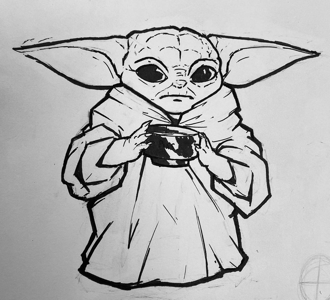 Decided to Ink the Baby Yoda sketch, I'm planning on