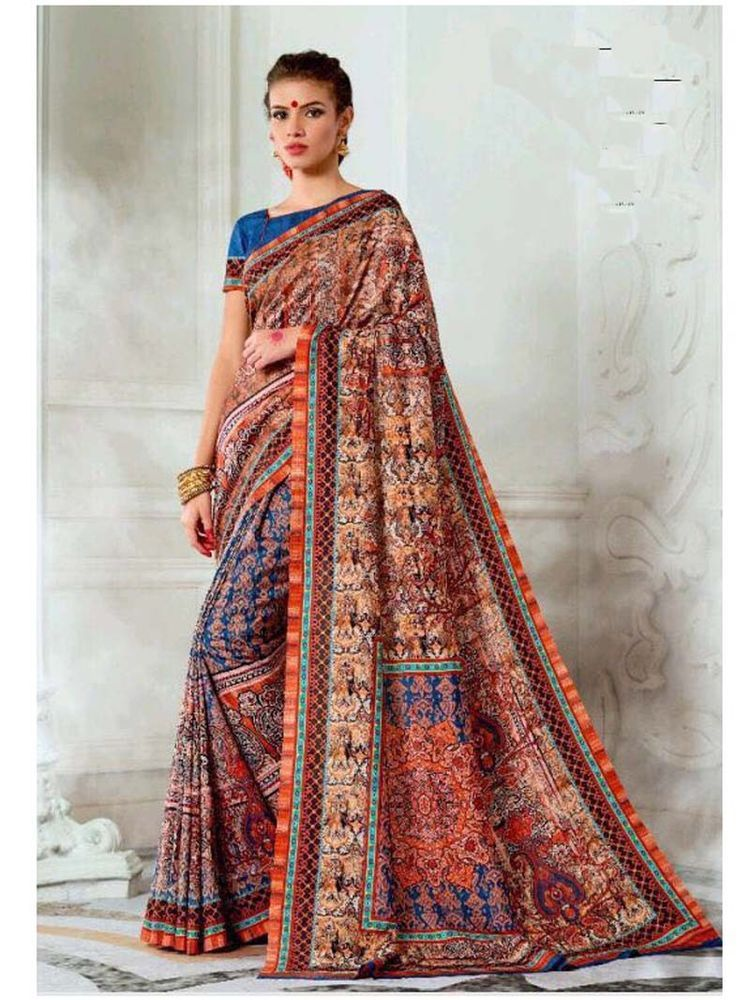 New Designer Traditional And Party Wear Digital Print Tusser Silk