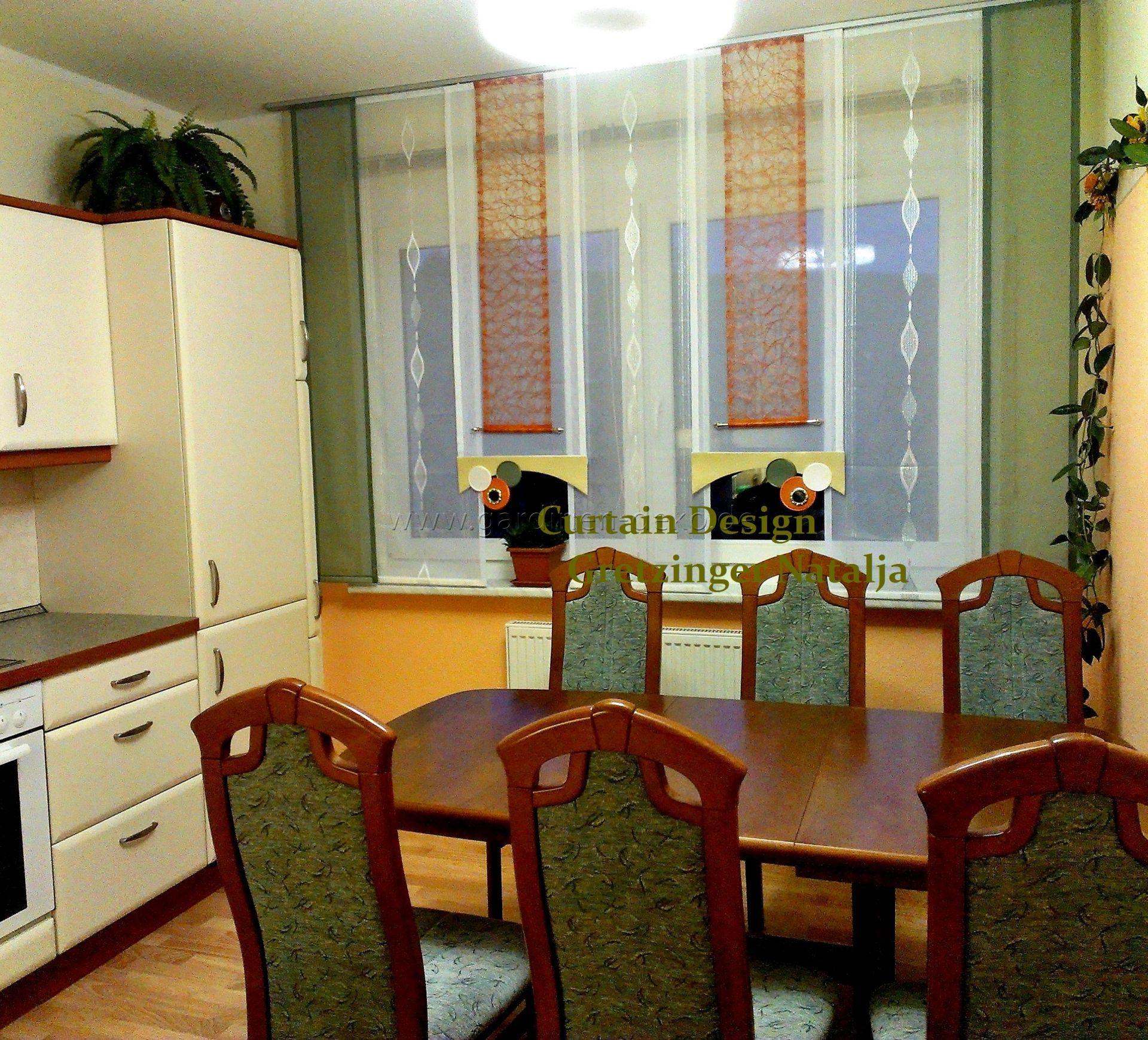 Schiebevorhang für die Küche, mit kreisförmigen Elementen und ...