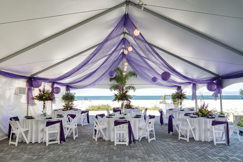 Purple White Tented Wedding Reception Beach Wedding Purple
