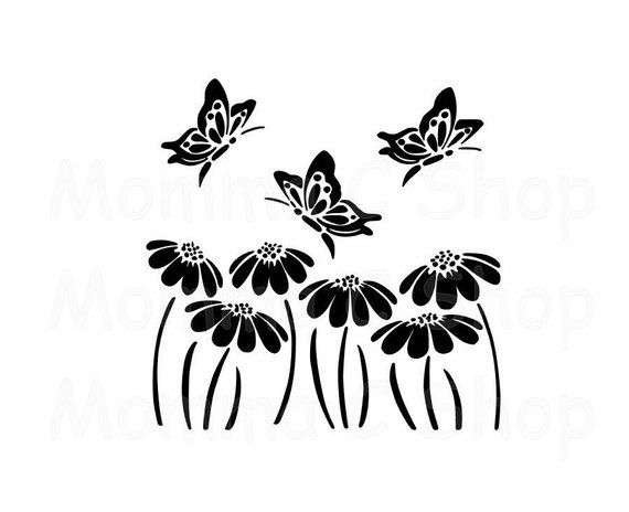 Butterflies Flowers SVG and JPEG Cone Flower Monarch