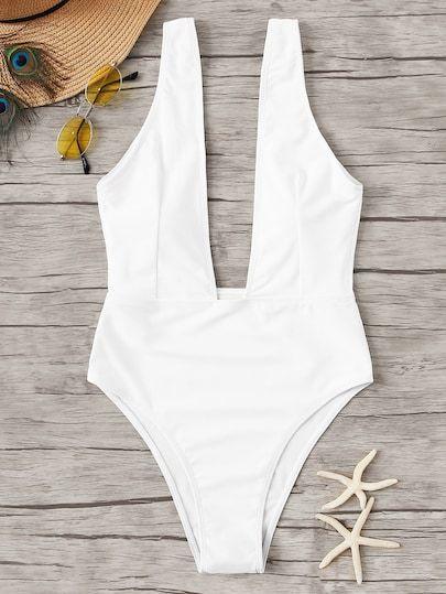 Plunge Neck One Piece Swimsuit