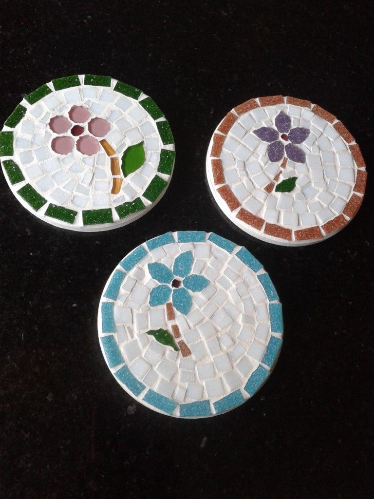 Vintage Japanese Coasters Trivets with Stones Mosaic Lot of 2