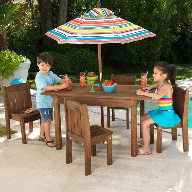 Espresso Outdoor Table Stacking Chairs By Kidkraft Kids Patio Furniture Kids Outdoor Furniture Outdoor Table Settings