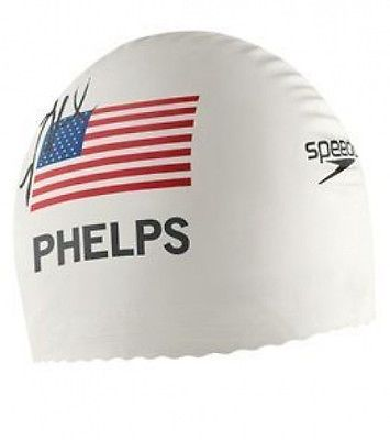 Swim Caps 117162: Michael Phelps 2008 Printed Signature Speedo Swim Cap White -> BUY IT NOW ONLY: $99.99 on eBay!