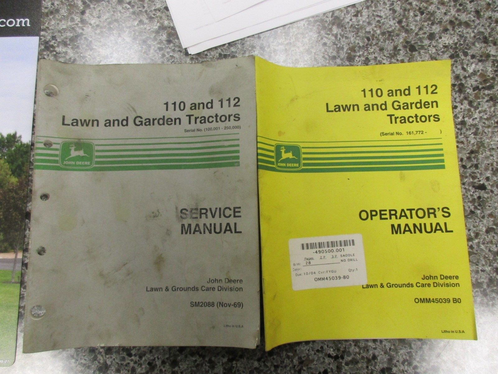 Manuals and Guides 42229: John Deere 110 And 112 Operators And Service  Manual ->