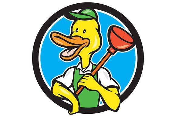 Duck Plumber Holding Plunger Circle