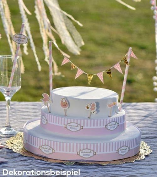 kuchen dekoration mademoiselle 6 teilig babyparty neutral dekoration babyparty torte