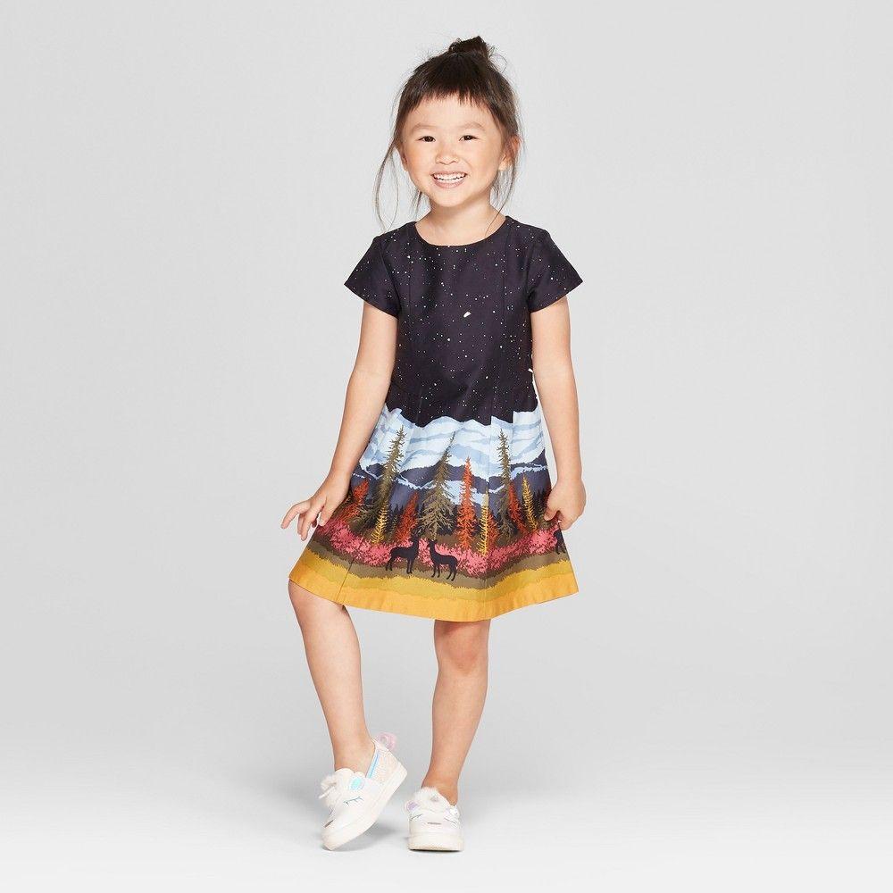 Toddler girlsu short sleeve night sky dress genuine kids from