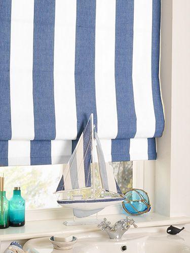 Amelie Delft Blue Roman Blind White Blindsnautical