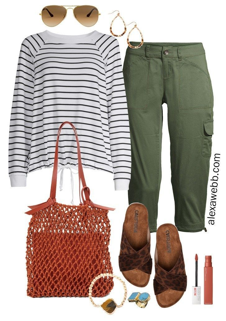 Plus Size Green Cargo Capri Outfit Idea with Striped Sweatshirt, Leopard Sandals, Rust Macrame Bag, and Boho Jewelry - Alexa Webb #plussize #alexawebbPlus #Size #Green #Cargo #Capri #Outfit #Idea #with #Striped #Sweatshirt, #Leopard #Sandals, #Rust #Macrame #Bag, #and #Boho #Jewelry #- #Alexa #Webb ##plussize ##alexawebb #cargo