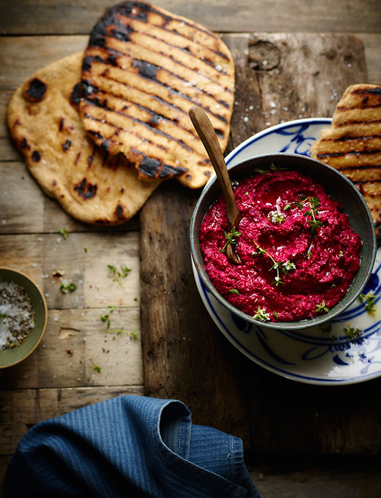 Salt Baked Beetroot Houmous With Spelt Flat Breads Recipe Baked Beetroot Food Beetroot