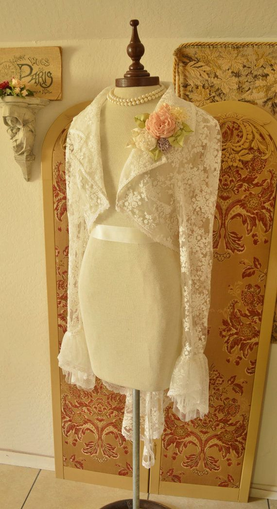 Lace Jacket Wedding Jacket Bridal Steampunk by twinBdesigns