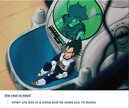 When they totally captured what it's like to be owed money: | 19 Tumblr Posts That Are Too Real For Anime Fans - Visit now for 3D Dragon Ball Z compression shirts now on sale! #dragonball #dbz #dragonballsup