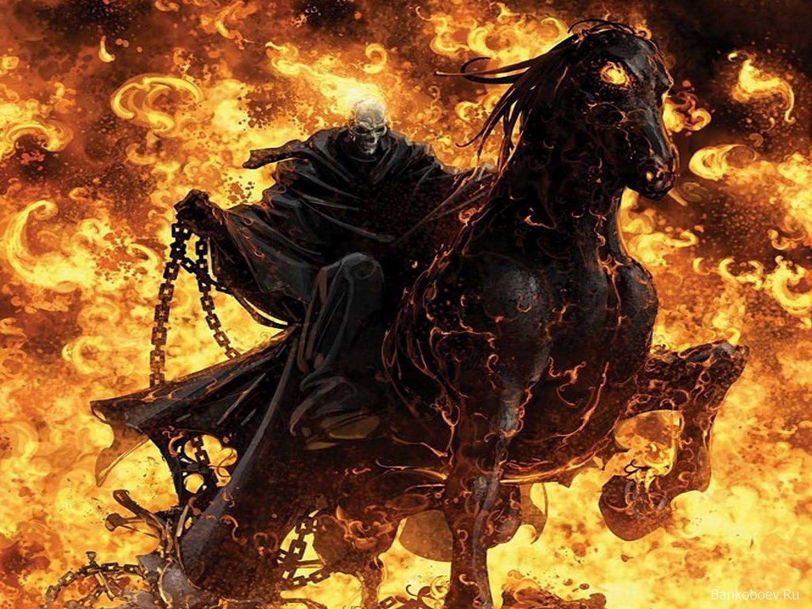 Ghost Rider Spirit Of Vengeance Skeleton Riding Black Horse