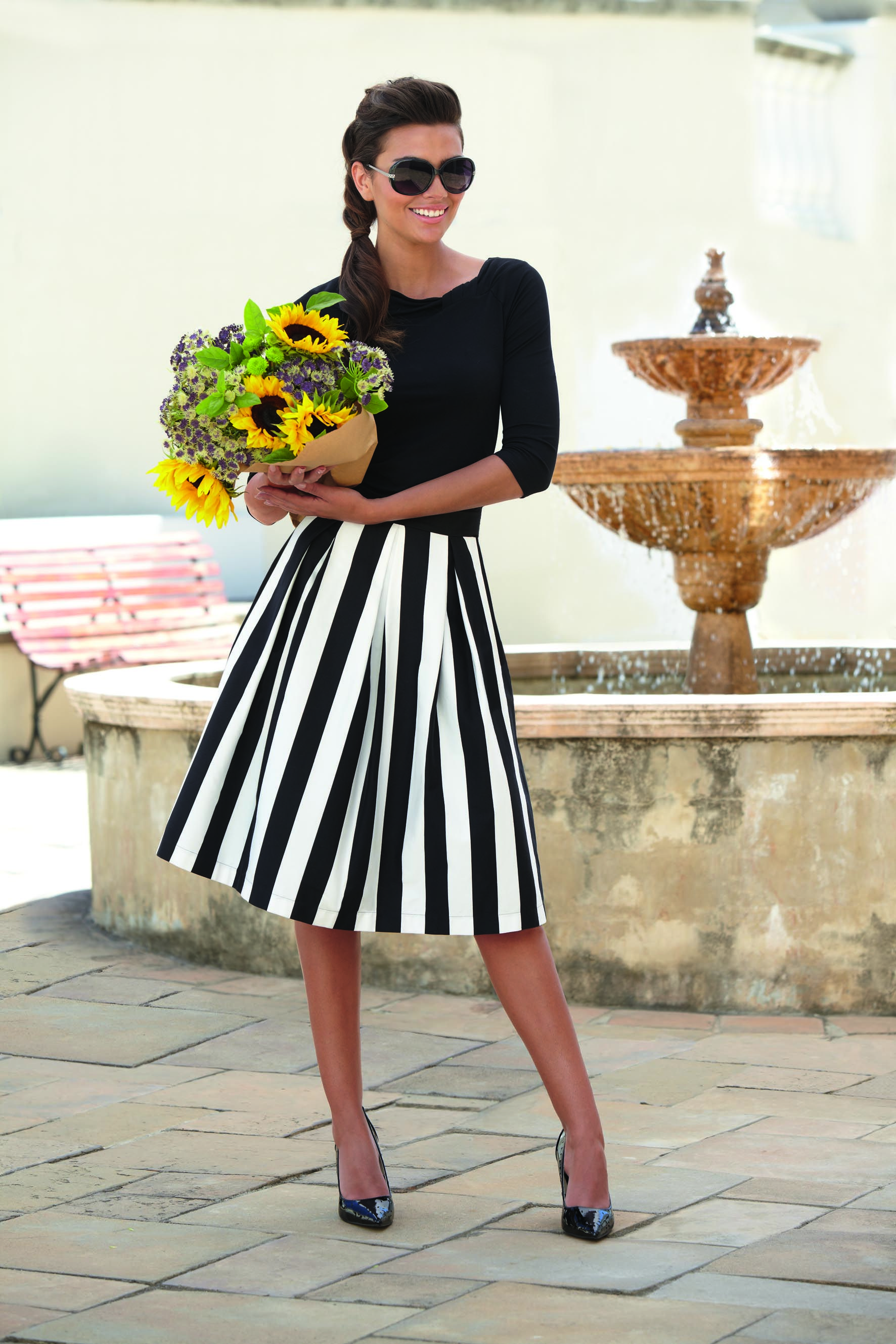 Principles By Ben Di Lisi Black And White Striped Skirt Fashion