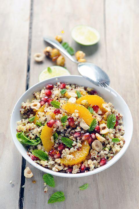 Salade fruitée aux quinoas, pizza aux légumes du soleil et frozen yogurt au menu !
