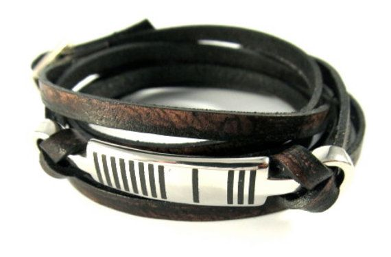 Men's Dragonfly Leather Wrap Bracelet  with Barcode by OneMeaning, $68.00