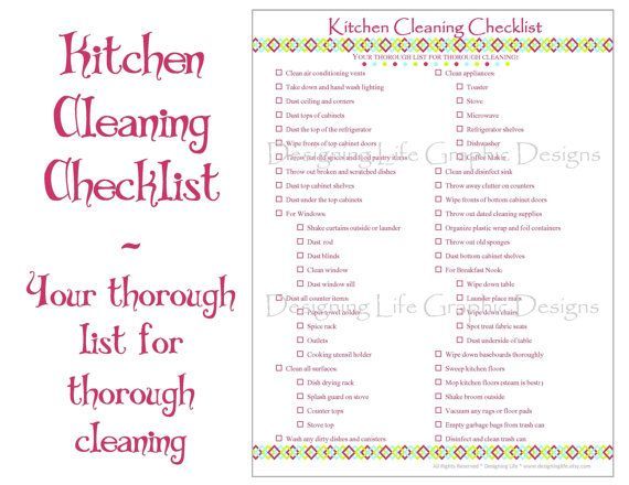 Kitchen Cleaning Checklist  Pdf Printable  Home Management Sheet