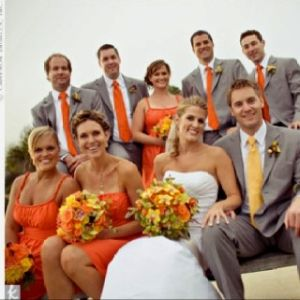 Grey Suits With Orange Ties Groom Wears Yellow Tie Love The Colours For A Fall Wedding Except More C Colour