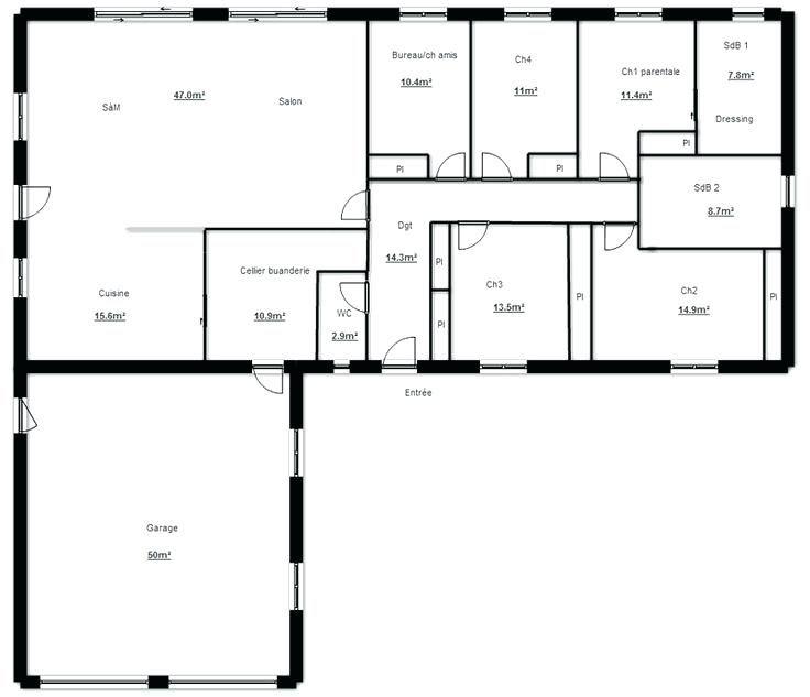 Plan Construction Garage Gratuit plan de maison plain pied gratuit - plan de maison en l de plain pied gratuit