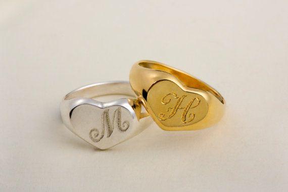 Minimalist Ring Heart Signet Ring Sterling Silver Signet Ring Gold Signet Ring Name Ring