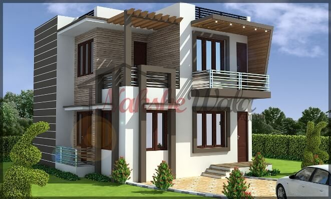 Double storey elevation two storey house elevation 3d for Contemporary indian house elevations