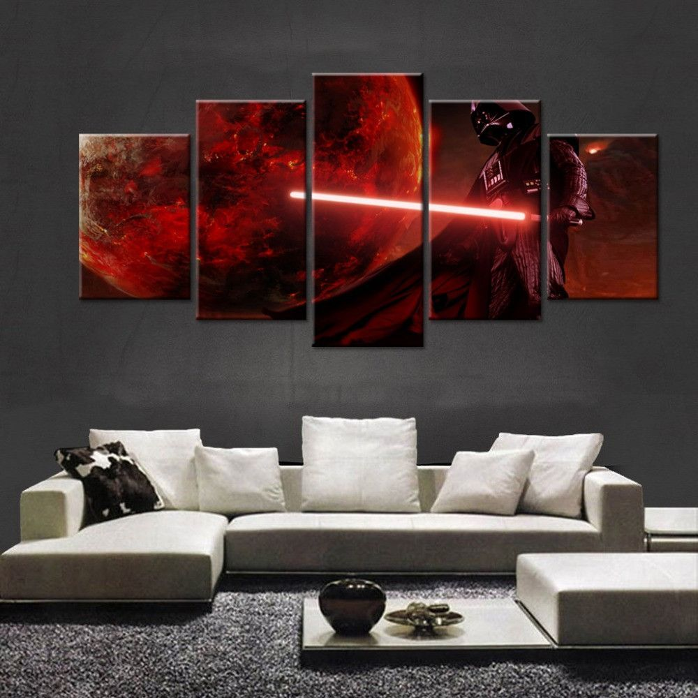 Star Wars Black Knight Wall Art Star Wars Living Room Star Wars Empire Logo Star Wars Canvas Print