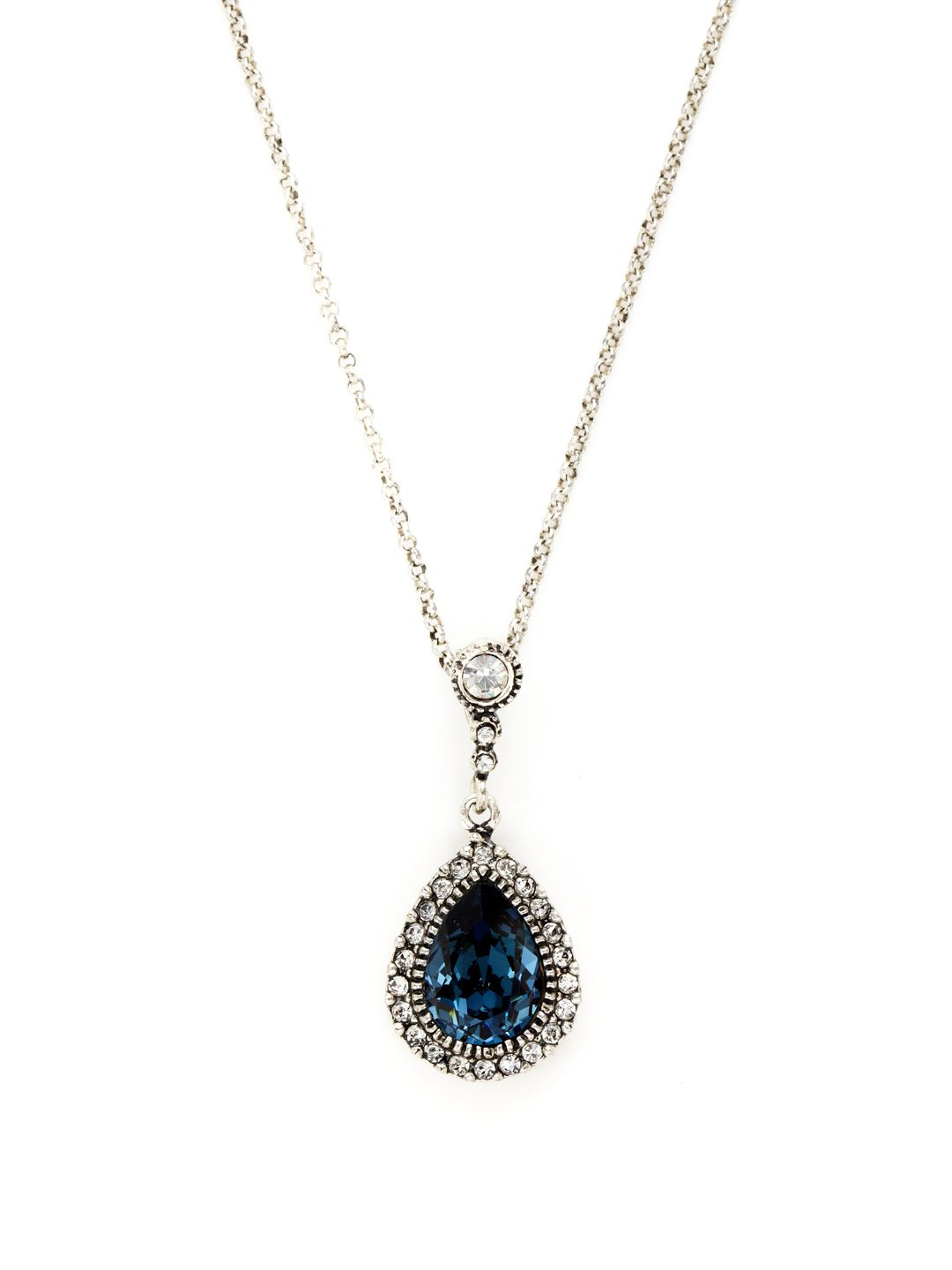 Blue & Clear Crystal Teardrop Pendant Necklace by Azaara Vintage at Gilt