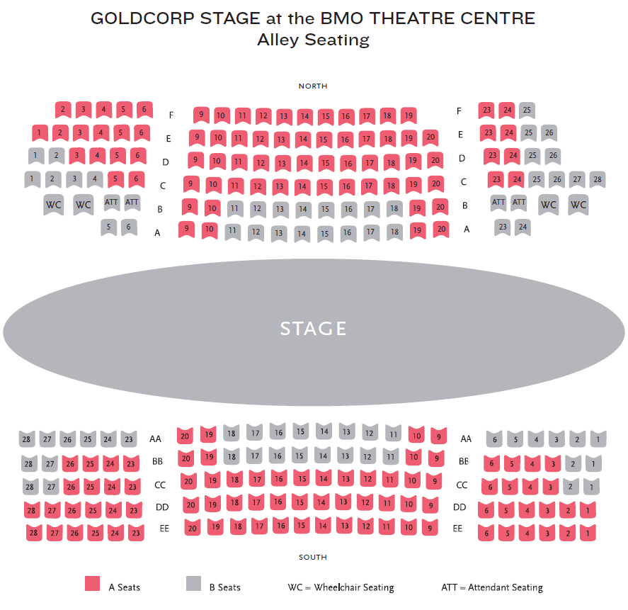 Goldcorp Stage At The Bmo Theatre Centre Seating Map Map Bmo Seating