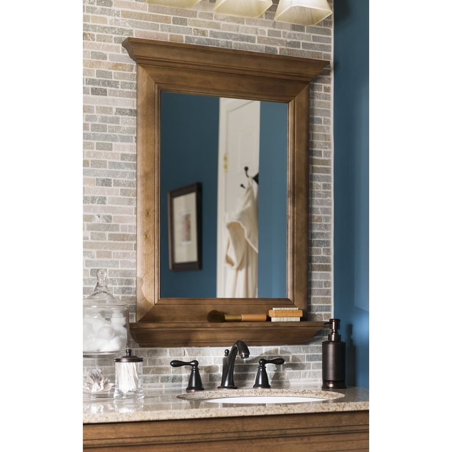 Shop Allen Roth Ballantyne 34 In H X 25 In W Mocha With Ebony Glaze Rectangular Bathroom M Rectangular Bathroom Mirror Bathroom Mirror Lowes Bathroom Mirrors