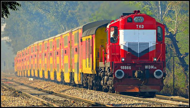 TKD WDM3A with 12985 Jaipur Double Decker Express