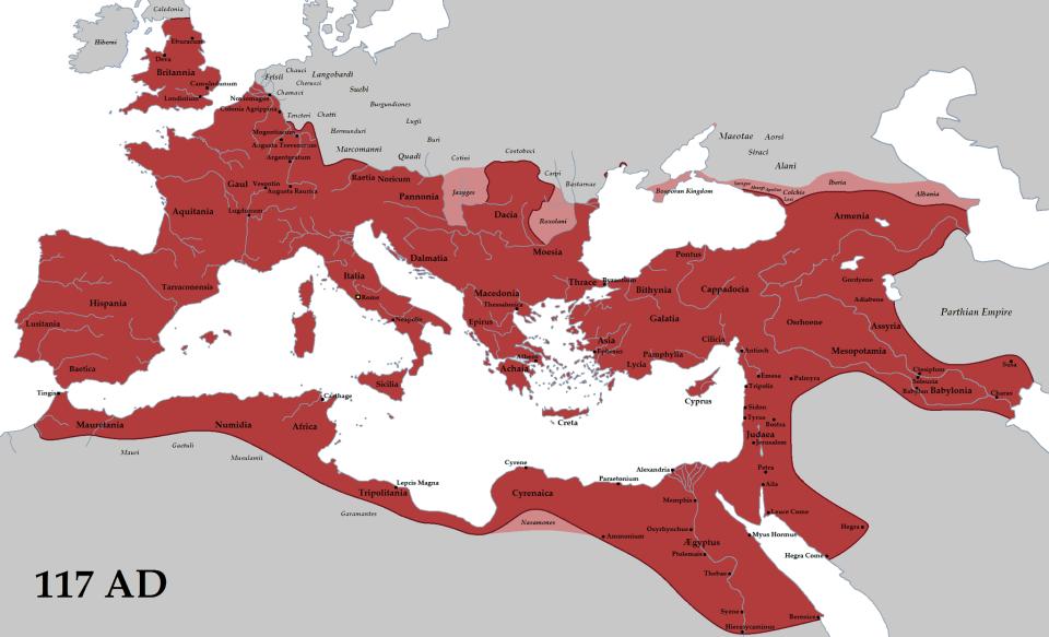 La máxima expansión del Imperio Romano en el año 117 D.C. con el ...
