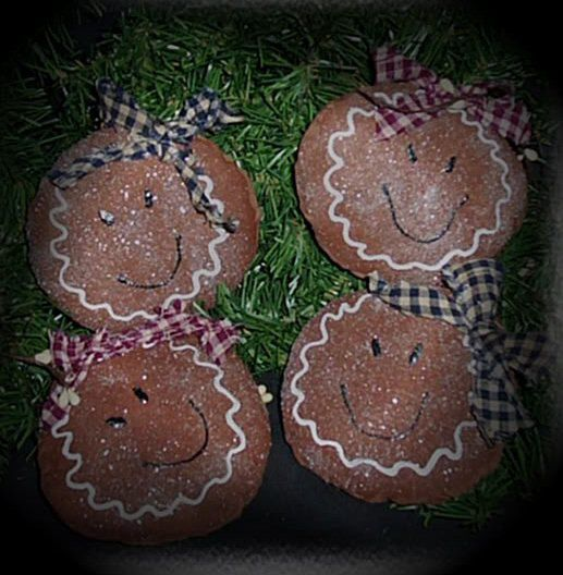 Primitive Christmas Gingerbread Doll Head Ornies-Set Of 3 $699