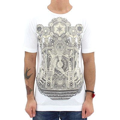 Diesel Black Gold Hexagon Print Tee White. Diesel Black Gold presents this slim fitted tee that features a detailed print on the front