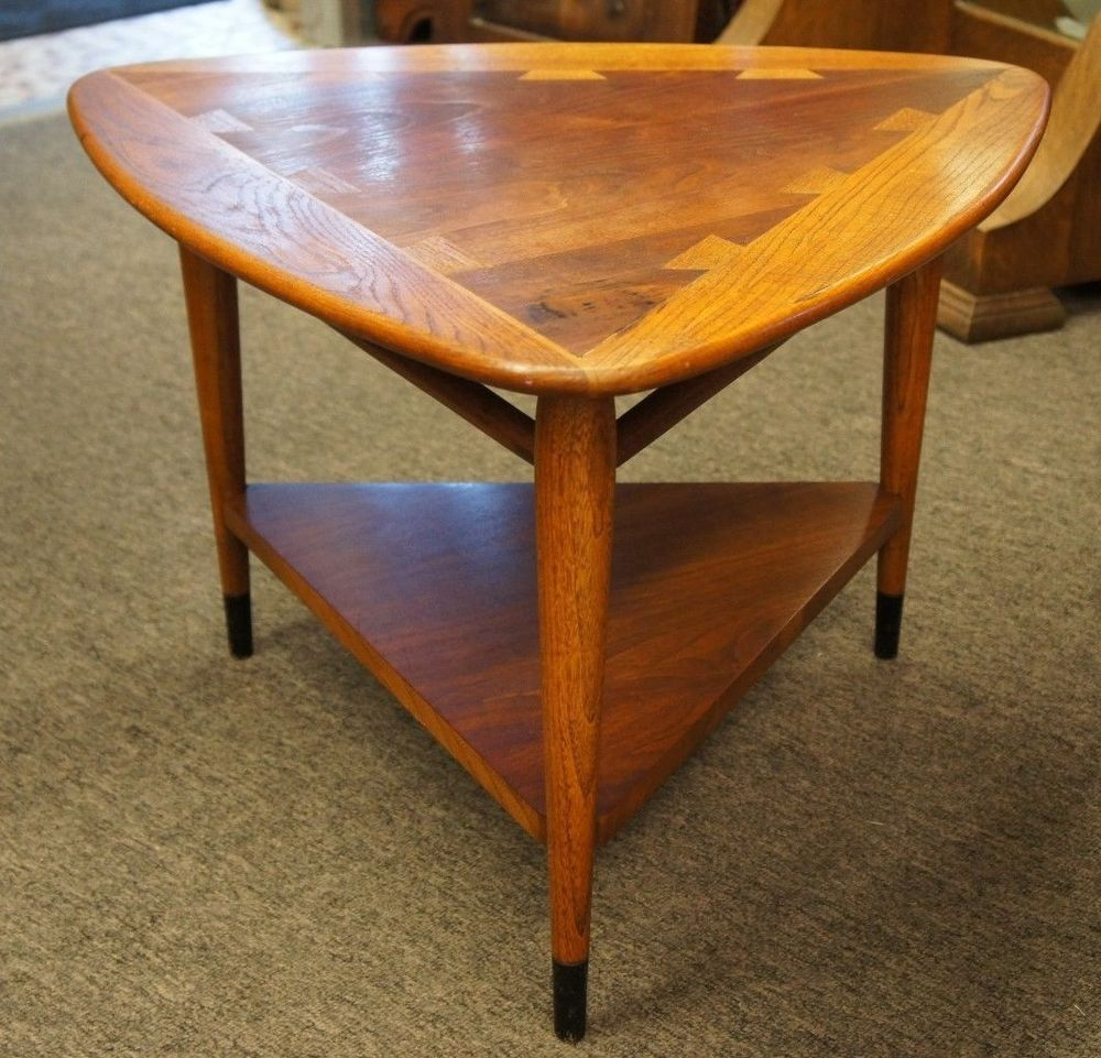 Lane Acclaim Modern Triangular End Table 1962 Mid Century Walnut Oak Dove  Tail