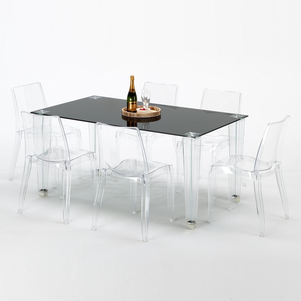 Tavolo Cucina Trasparente.Dettagli Su Tavolo Rettangolare Vetro 6 Sedie Policarbonato