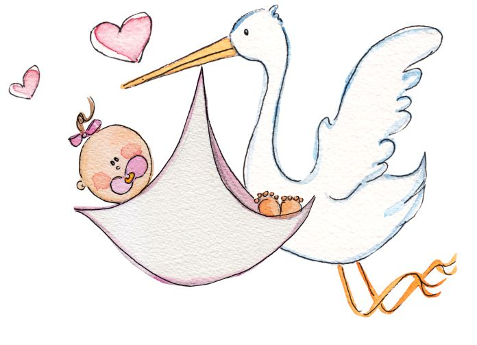 free baby and stork girl printable pictures | stork baby shower ...