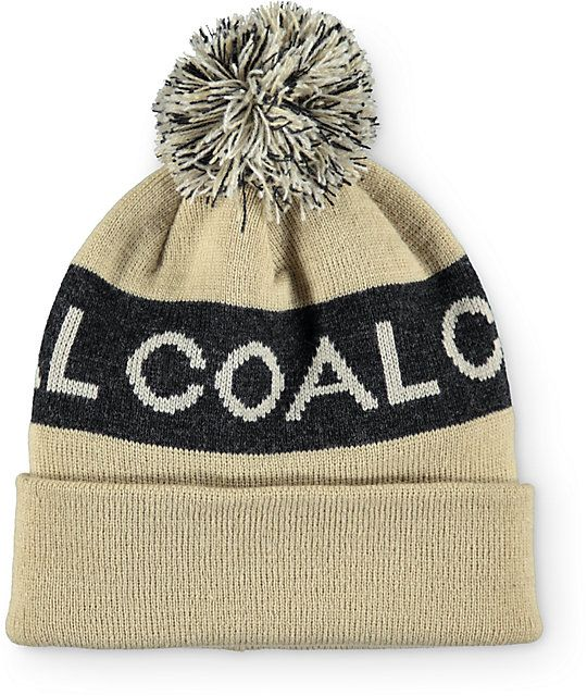 99e405e6208 Clean up your beanie game with a black Coal jacquard knit text and stripe  pattern on