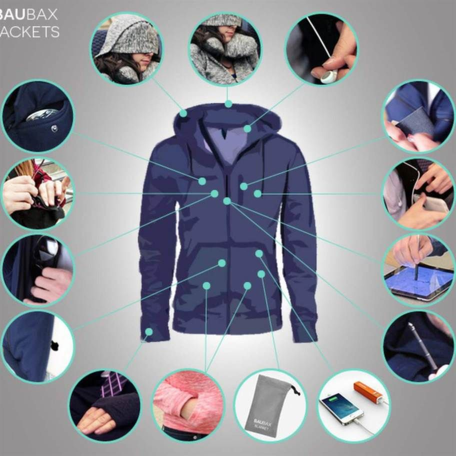 Travel Jacket innehåller inte mindre än 15 inbyggda funktioner