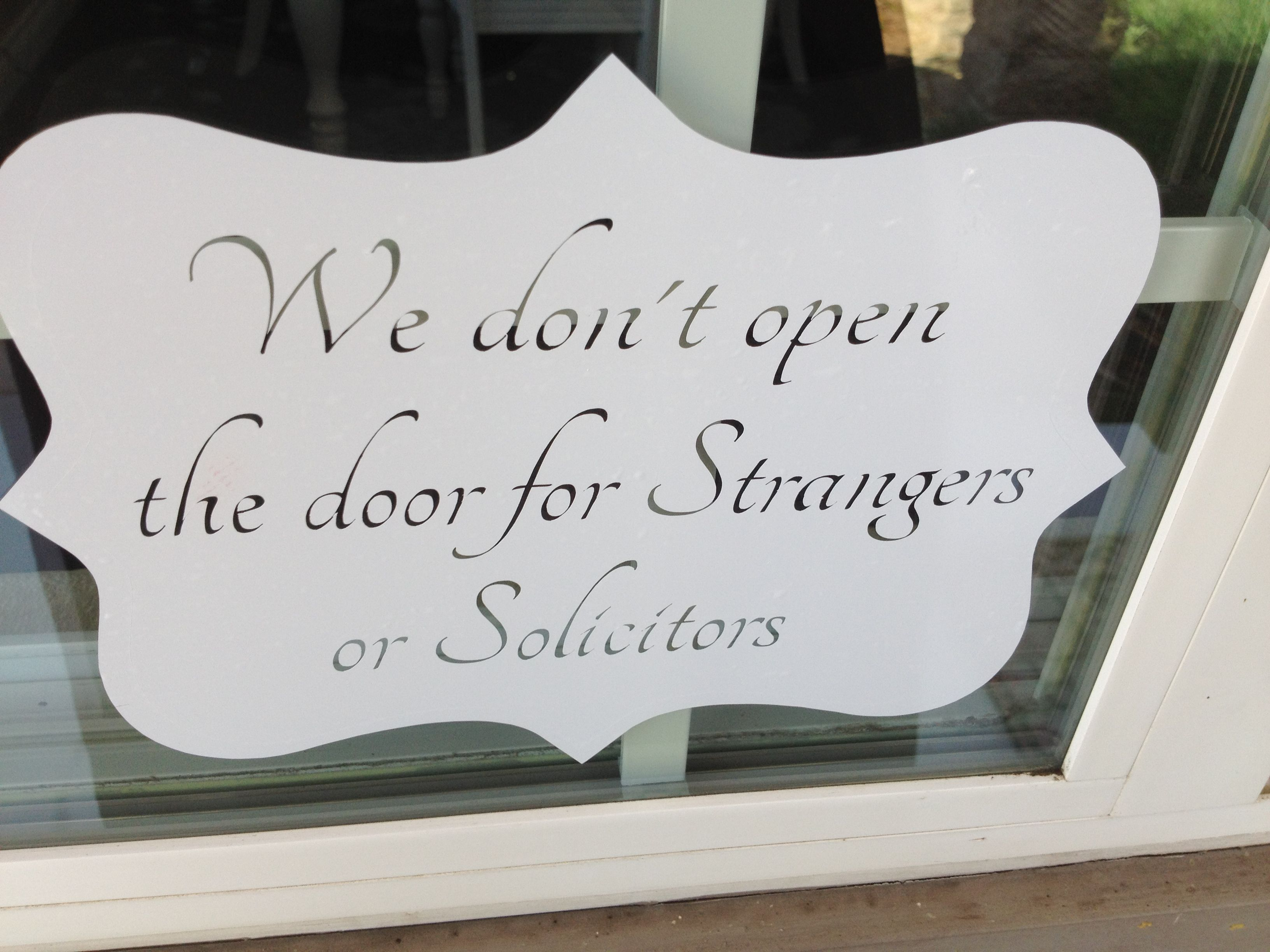 No Soliciting sign made with silhouette and outdoor vinyl. Nice ...