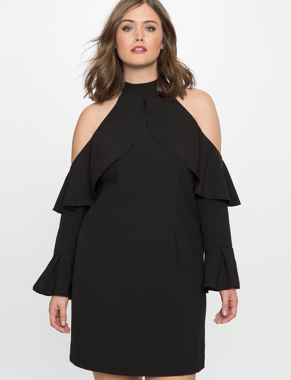 f79106ba524 Cold Shoulder Halter Dress with Ruffle Details