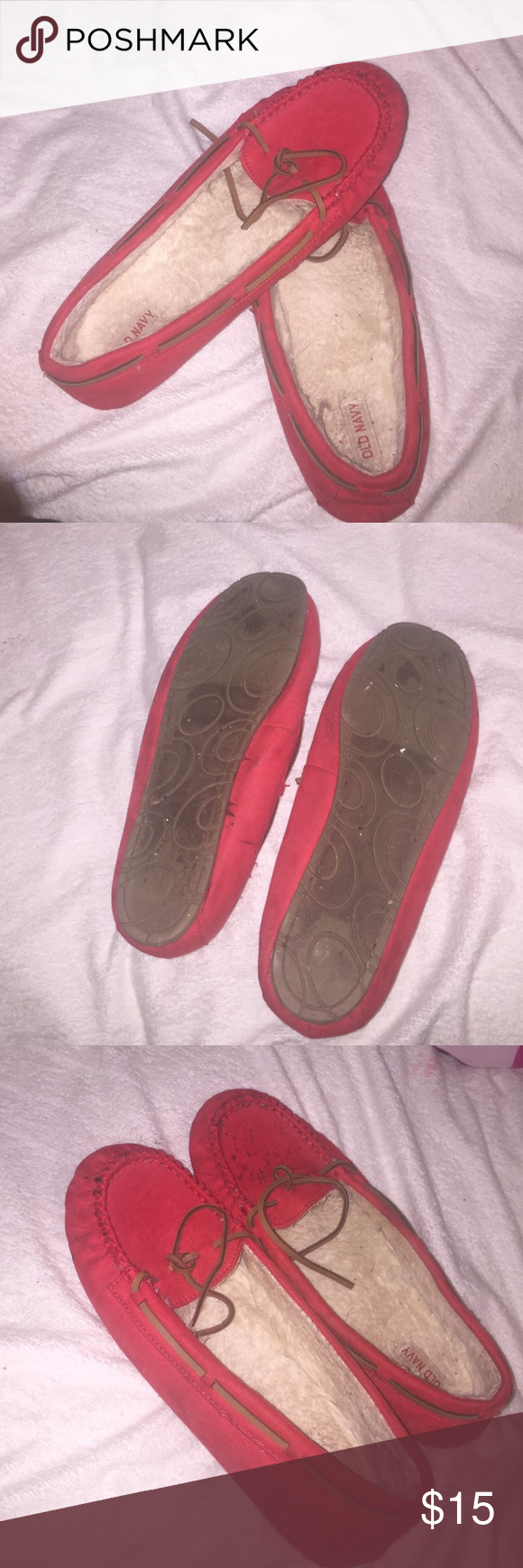 Bright red moccasins Need to be washed, and will be washed before shipping guaranteed. Size 10. Super fun and cute moccasins!  Fast shipper: same or next day shipping guaranteed. Feel free to make a REASONABLE offer loves! Old Navy Shoes Moccasins
